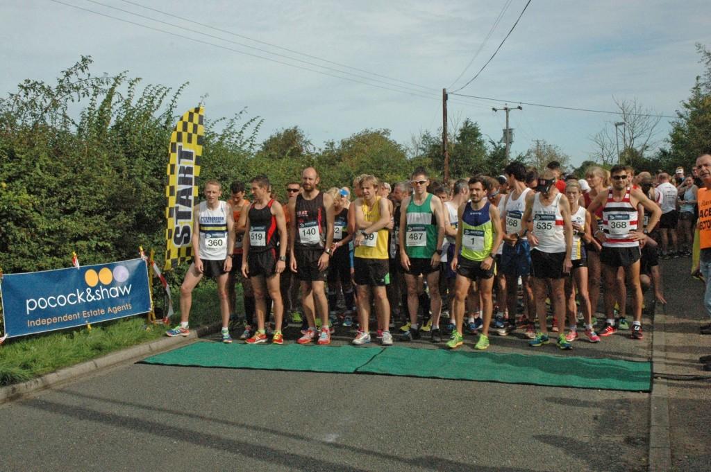 The start of the race. Grunty Fen Half Marathon, Witchford, Cambridgeshire, Sunday 13th September 2015.