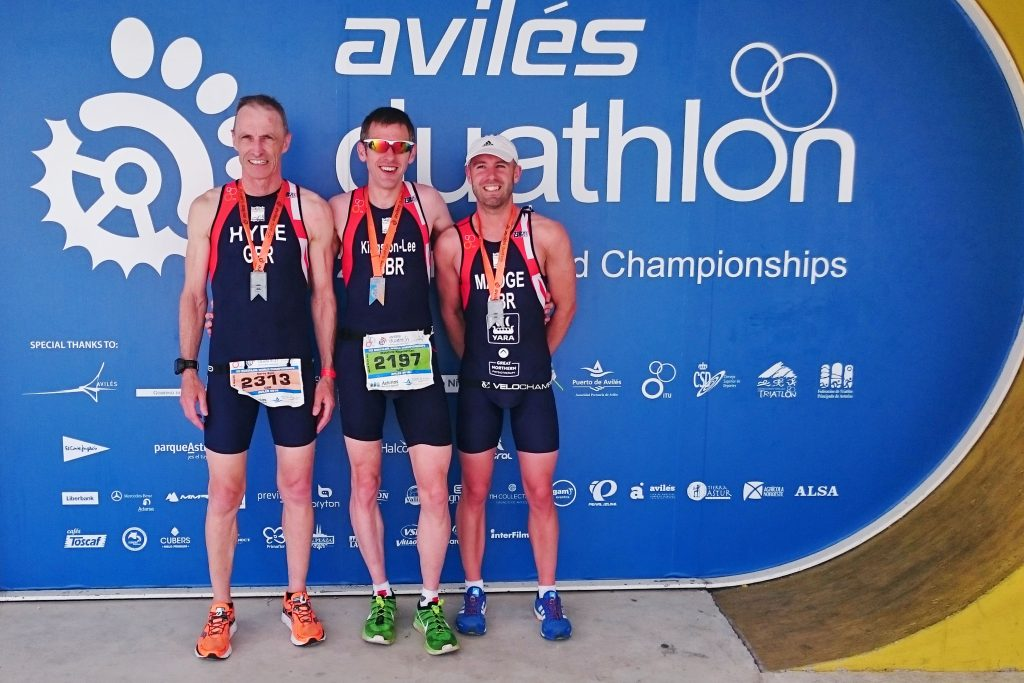 (L to R): Gerry Hyde, myself and Adam Madge, having completed the 2016 ITU World Duathlon Championships.