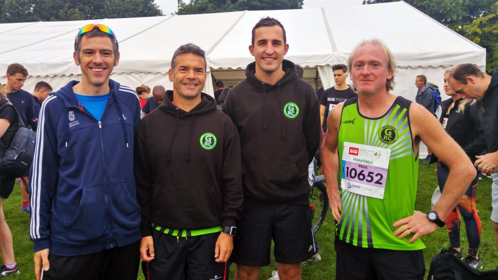 Me, Nick, Andy, and Paul, before the start of the race. Robin Hood Half Marathon, Nottingham, Sunday 25th September 2016.