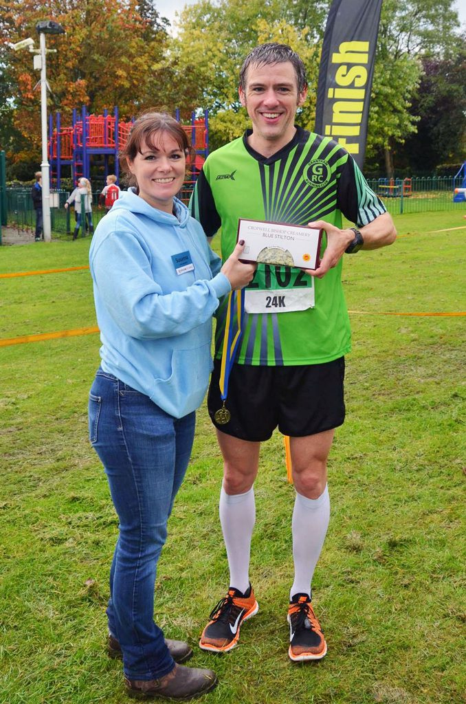 Presented with my prize after winning the Stilton Stumble 24k. Picture c/o Stilton Stumble.